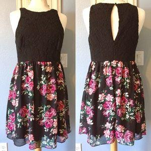 Black Floral & Lace Dress